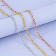 14k позолоченный волна воды ожерелье Оптовая 925 Серебряная цепочка
