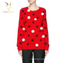 Heart Design Intarsien Pullover Pullover 100% Cashmere-Pullover-Design für die Dame