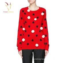 Heart design intarsia pullover jumper 100% cashmere sweater design for lady