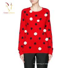 Coração design intarsia pullover jumper 100% suéter de cashmere design para senhora