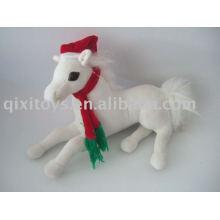 décoration de Noël en peluche cheval en peluche avec chapeau et écharpe