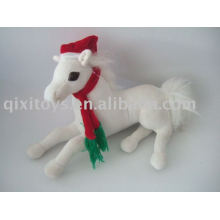 christmas decoration stuffed plush horse with hat and scarf