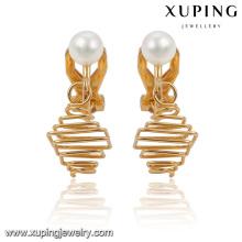 91935 Pendiente de joyería de imitación chapado en oro elegante de la moda 18k con la perla