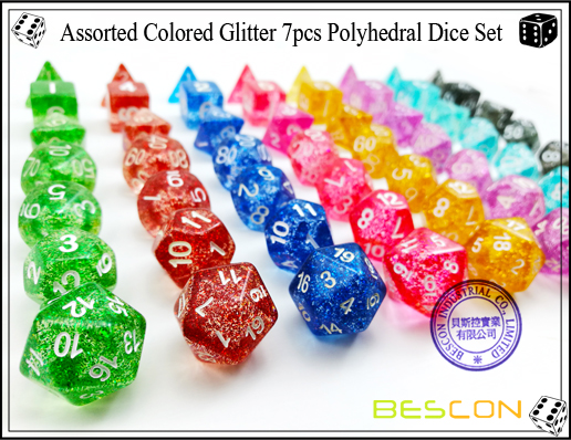 Assorted Colored Glitter 7pcs Polyhedral Dice Set-6
