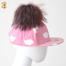 Ручная хлопчатобумажная верхняя шляпа с хлопчатобумажной крышкой Pompom