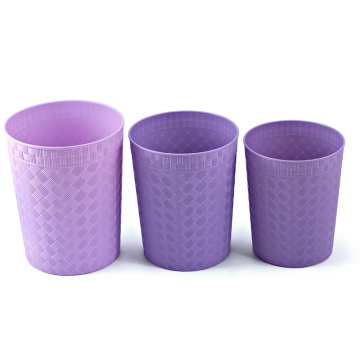 Plastic Open Top Weave Design Trash Bin