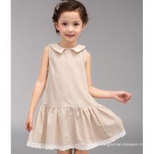 Venta caliente del bebé $ 5 vestido de una sola pieza de color caqui punteado ropa de verano de las muchachas ocasionales de la escuela vestido