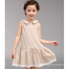 Bébé vente chaude 5 $ une pièce robe kaki couleur à pois vêtements été décontractée filles de l'école robe