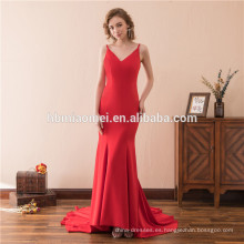 Lujo elegante 2018 vestidos de noche largos correa de espagueti profunda v cuello frente corto espalda larga eveing rojo vestido 2018