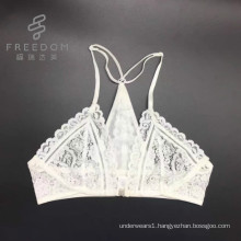 Sexy fancy white can customize color size 3/4 cup small MOQ high quality beautiful bra, front open lace bra