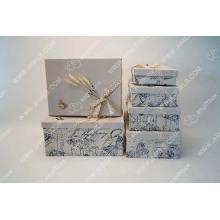 Printed linen handmade cosmetic box