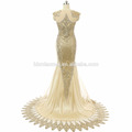Lace Applique Mermaid Evening Dress 2017 Long Sleeveless Suzhou Prom Dress with small tail