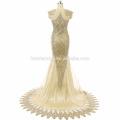 Lace Applique Sereia Vestido de Noite 2017 Sem Mangas Suzhou Prom Vestido com pequena cauda