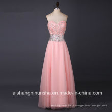 Tule Long Beading Querida Sem Mangas A-Line Prom Dress