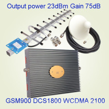 Tri Band 900 & 1800 & 3G / 2100MHz 17dB GSM Dcs Mobile Signal Booster GSM Repeater