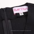 Belle Poque color sólido retro vintage sin mangas con cuello en V A-Line Negro One Piece 50s 60s Swing vestido BP000384-1