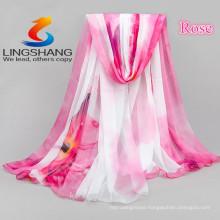 LINGSHANG girl dress beach towel sunscreen scarf magic cool accessories chiffon print silk scarf