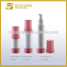 Botella airless de 20ml / 40ml / 50ml, botella airless redonda del plástico, botella airless cosmética