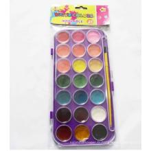 Bricolage peinture avec brosse à gâteaux aquarelle 12 couleurs ensemble