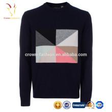 Мужские Интарсия Кашемировый свитер образец вязания