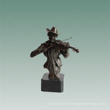 Büsten Messing Statue Geigenspieler Dekoration Bronze Skulptur Tpy-762