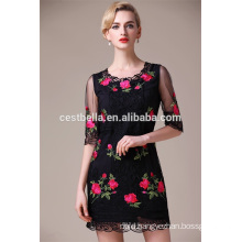 Hot Sale Half Sleeve Black Ladies Dress Women Casual Embroidered Dress