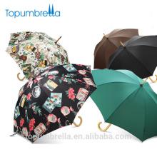 L'Oreal Fábrica Atacado de Alta Qualidade de Luxo Marca Própria Das Senhoras Reta Guarda-chuva Com Punho De Madeira