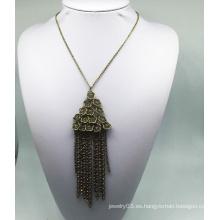 Flor de diamante del tejido anti chapado collar (XJW13764)