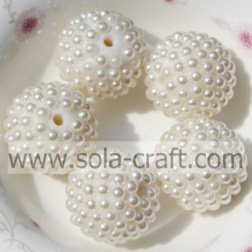 Newest Faux Pearl Resin Rhinestone ball Beads 28mm For Bracelets