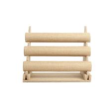 Porte-bracelet en lin large et beige de 3 niveaux (BT-3T-LB1)