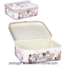Caja de regalo de papel personalizado de la maleta de la impresión con la manija y la cerradura