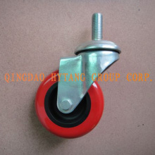 100mm Red PU caster wheel treaded