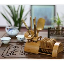 Jogo de chá artesanal de bambu