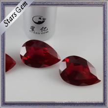 Forme de poire Vente chaude # 8 corindon synthétique rouge sang