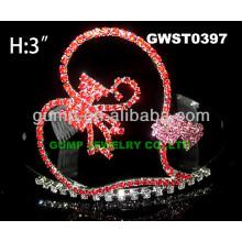 Corazón corona de tiara de diamantes de imitación -GWST0397