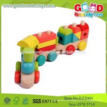 2015 baratos y de alta calidad de tren de madera conjunto de juguetes para niños, colorido pila de bloque de tren de juguete