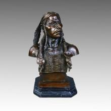 Bustes En Laiton Statue Indien Décoration Bronze Sculpture Tpy-140