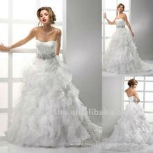 Organza Corset Sweetheart Crystal Ceinture A Line Robe de mariée Robe de mariée