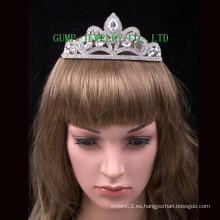 Corona de cristal del desfile grande de la tiara del rhinestone de la boda