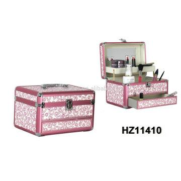 2014 fashionale caixa de beleza de alumínio com 2 bandejas dentro