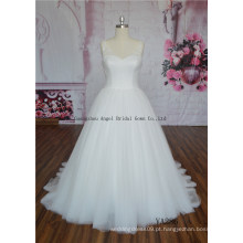 Beading no ombro com vestido de noiva de tule vestido de baile