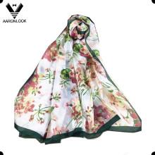 Lady's High Grade Colorful Flower Fameuse écharpe en soie de Hangzhou