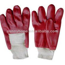 Открытые задние красные перчатки с ПВХ покрытием