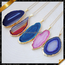 High Quality Beautiful Colorful Agate Slice Pendant Gold Chain Necklace (FN087)