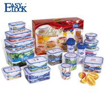 Recipiente de armazenamento plástico empilhável do alimento do fechamento fácil ajustado com tampa selada