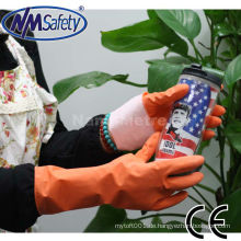 NMSAFETY Orange Latex Haushaltshandschuh Waschhandschuh