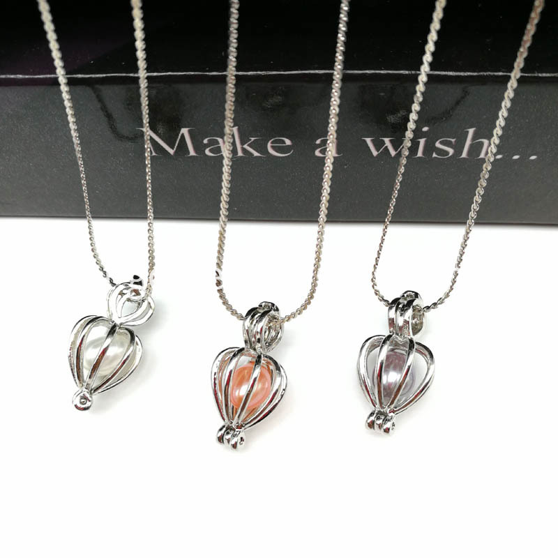 Classical Heart Pearl Cage Pendant Necklace