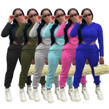 C7222 Fleece Women Hoodie Irregular Corset Top Women Sexy Solid Colors Cotton Zipper Blouses 2 Piece Women Joggers Suits Set
