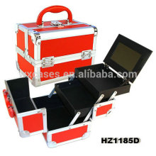 профессиональные алюминиевые Косметические чемоданы с лотков и зеркало внутри Китая производителя HZ1185D