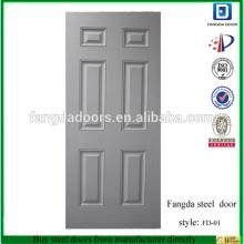 6-Panel Grundierte weiße Eingangstür aus Stahl
